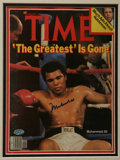 Boxing Collectibles:Autographs, Muhammad Ali Signed Time Magazine. The dominance of this boxinglegend is reported to end, as the banner above the cover im...