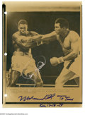 Boxing Collectibles:Autographs, Muhammad Ali & Larry Holmes Signed Wire Photograph. This wire photo depicts the Ali-Holmes bout from 1980 which saw Ali fig...
