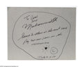 """Boxing Collectibles:Autographs, Muhammad Ali Signed Card. Excellent example of Ali's signature is featured here in perfect black sharpie on an 8.5x11"""" piec..."""