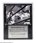 """Boxing Collectibles:Autographs, Muhammad Ali Signed Plaque. Brilliant limited edition plaque commemorating Ali's first championship also contains an 8x10"""" ..."""