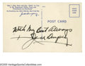 Boxing Collectibles:Autographs, Jack Dempsey Signed Postcard. Signed on the back of a postcard advertising Jack Dempsey's Broadway Restaurant which operate...
