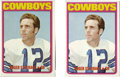 Football Cards:Lots, 1970-72 Topps Roger Staubach & O.J. Simpson Lot of 4. Two each of these Hall Famers' prized rookie cards. 1972 Topps #200 R...
