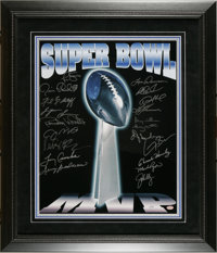 Super Bowl MVP's Multi-Signed Poster. Twenty flawless silver sharpie signatures from the men who came up big in the bigg...
