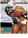 """Football Collectibles:Others, Barry Sanders Signed Photographs Lot of 3. Three 8x10"""" full color prints are all signed in flawless sharpie by perhaps the ..."""