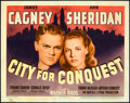 "Movie Posters:Drama, City for Conquest (Warner Brothers, 1940). Linen Finish Title LobbyCard (11"" X 14"").. ..."