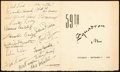 "Movie Posters:War, The Dawn Patrol (Warner Brothers, 1938). Autographed Wrap PartyMenu (17"" X 7"").. ..."