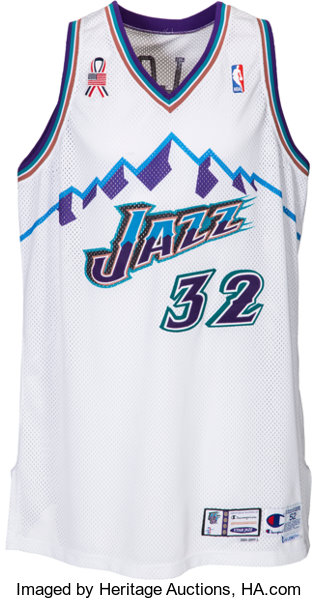 save off 0412a f1cae 2001-02 Karl Malone Game Worn Utah Jazz Jersey with Team ...