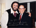 Baseball Collectibles:Photos, 1990's Luciano Pavarotti Signed Photograph To Yogi Berra. ...