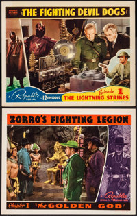 """The Fighting Devil Dogs & Other Lot (Republic, 1938). Lobby Cards (2) (11"""" X 14""""). Chapter 1-- """"The L..."""