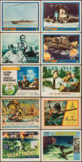 """Movie Posters:War, The Silent Enemy & Others Lot (Universal International, 1959). Title Lobby Cards (3), Lobby Cards (7) (11"""" X 14""""). War.. ... (Total: 10 Items)"""