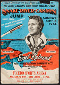 """Movie Posters:Action, Evel Knievel Snake River Canyon (Top Rank Inc, 1974). Autographed Window Card (14"""" X 20""""). Action.. ..."""