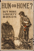 "Movie Posters:War, World War I Propaganda (U.S. Government Printing Office, 1918).Liberty Bonds Poster (20"" X 30"") ""Hun or Home?"". ..."