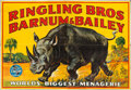 "Movie Posters:Miscellaneous, Circus Poster (Ringling Bros/Barnum & Bailey, c. 1940). LinenBanner (79"" X 117"") Bill Bailey Artwork.. ..."