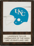 Football Collectibles:Others, 1980 Linebacker of the Week Award Presented to Lawrence Taylor....
