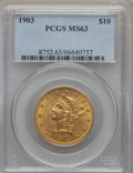 Liberty Eagles: , 1903 $10 MS63 PCGS. PCGS Population: (157/53). NGC Census: (116/39). CDN: $865 Whsle. Bid for problem-free NGC/PCGS MS63. M...