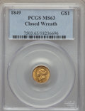 Gold Dollars, 1849 G$1 Closed Wreath MS63 PCGS. PCGS Population: (63/75). NGC Census: (56/131). CDN: $1,300 Whsle. Bid for problem-free N...