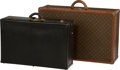 Decorative Arts, French:Other , Two Louis Vuitton and Hermes Leather Suitcases, Paris, mid-20thcentury. 20-3/4 h x 31-5/8 w x 10 d inches (52.7 x 80.3 x 25...(Total: 2 Items)