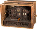 Clocks & Mechanical:Clocks, A Swiss Black Forest Musical Chalet Belle Vue Clock and Case, late 19th century. 16-3/4 h x 23-1/2 w x 12-1/2 d inches (42.5...