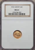 Commemorative Gold, 1922 G$1 Grant Gold Dollar, No Star, MS61 NGC. NGC Census:(23/1145). PCGS Population: (15/2097). Mintage 5,000. ...