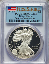 2012-S $1 Silver Eagle, Coin & Currency Set, First Strike PR70 Deep Cameo PCGS. PCGS Population: (0). NGC Census: (0...