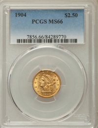 1904 $2 1/2 MS66 PCGS. PCGS Population: (220/65). NGC Census: (201/112). CDN: $815 Whsle. Bid for problem-free NGC/PCGS...