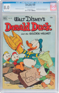 Golden Age (1938-1955):Funny Animal, Four Color #408 Donald Duck (Dell, 1952) CGC VF 8.0 Off-white towhite pages....