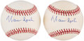 Autographs:Baseballs, Warren Spahn Single Signed Baseball Pair (2). ...