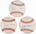 Autographs:Baseballs, Hank Aaron Single Signed Baseballs Lot of 3. ...