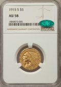 Indian Half Eagles: , 1915-S $5 AU58 NGC. CAC. NGC Census: (466/275). PCGS Population:(172/297). CDN: $1,000 Whsle. Bid for problem-free NGC/PCG...