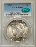 Peace Dollars: , 1927-S $1 MS64 PCGS. CAC. PCGS Population: (1520/83). NGC Census:(1035/77). CDN: $1,000 Whsle. Bid for problem-free NGC/PC...