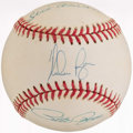 Autographs:Baseballs, Baseball Kings Multi Signed Baseball (3 Signatures) - IncludesRyan, Rose, & Aaron. ...