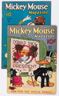 Platinum Age (1897-1937):Miscellaneous, Mickey Mouse Magazine V1#10 and V2#2 Group (K. K.Publications/Western Publishing Co., 1935-36) Condition: FR....(Total: 2 Comic Books)