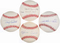 Autographs:Baseballs, Baseball Greats Single Signed Baseball Quartet - IncludesSheffield, Soriano, Cavarretta, and Kubek. ...