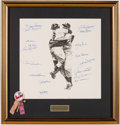 Baseball Collectibles:Others, 1956 New York Yankees Multi-Signed Lithograph (17 Signatures)....