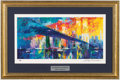 "Miscellaneous Collectibles:General, 1990's ""Brooklyn Bridge"" Lithograph Signed by LeRoy Neiman...."