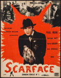 "Movie Posters:Crime, Scarface (FGM, R-1930s). French Affiche (18.5"" X 23.5""). DS.Crime.. ..."