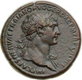 Ancients:Roman Imperial, Ancients: Trajan (AD 98-117). Orichalcum sestertius (33mm, 25.40 gm, 6h). Choice XF....