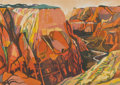 Prints & Multiples, Susan Shatter (1943-2011). Grand Canyon, 1981. Lithograph in colors on Arches paper. 31-1/2 x 44 inches (80.0 x 111.8 cm...