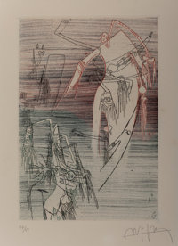 Wifredo Lam (1902-1982) Untitled Etching in colors 10-1/2 x 7 inches (26.7 x 17.8 cm) (image)