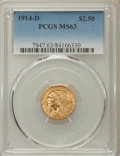 Indian Quarter Eagles: , 1914-D $2 1/2 MS63 PCGS. PCGS Population: (1236/864). NGC Census:(1503/1084). CDN: $900 Whsle. Bid for problem-free NGC/PC...