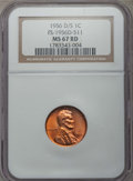 Lincoln Cents, 1956-D/D 1C MS67 Red NGC. FS-1956-D511. NGC Census: (177/0). PCGS Population: (41/0). Mintage 421,414,400....