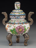 Asian:Chinese, A Diminutive Chinese Cloisonné Incense Burner, late Qing Dynasty.5-3/4 inches high (14.6 cm). ...