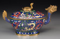 Asian:Chinese, A Chinese Gilt Bronze and Cloisonné Figural Box, late Qing Dynasty.4-3/4 h x 8-1/4 w x 4-3/4 d inches (12.1 x 21.0 x 12.1 c...