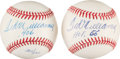 Baseball Collectibles:Balls, 1980's Ted Williams Single Signed Baseballs with Inscriptions Lot of 2. ...