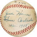 Baseball Collectibles:Balls, 1962 Jesse Haines Single (Triple) Signed Baseball with Notations. . ...