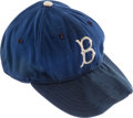 "Baseball Collectibles:Hats, 1953-54 Bob ""Bobo"" Milliken Signed Game Worn Brooklyn Dodgers Cap...."