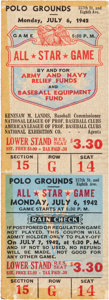Baseball Collectibles:Tickets, 1942 All-Star Game Full Ticket Signed & Owned by Walker Cooper....