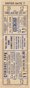 Baseball Collectibles:Tickets, 1950 All-Star Game Full Ticket. ...