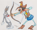 Animation Art:Production Drawing, Virgil Ross - Bugs Bunny and Sheriff of Nottingham Drawing (WarnerBrothers, c. 1990s). ...