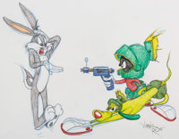Virgil Ross - Bugs Bunny with K-9 and Marvin the Martian Drawing (Warner Brothers, c. 1990s)